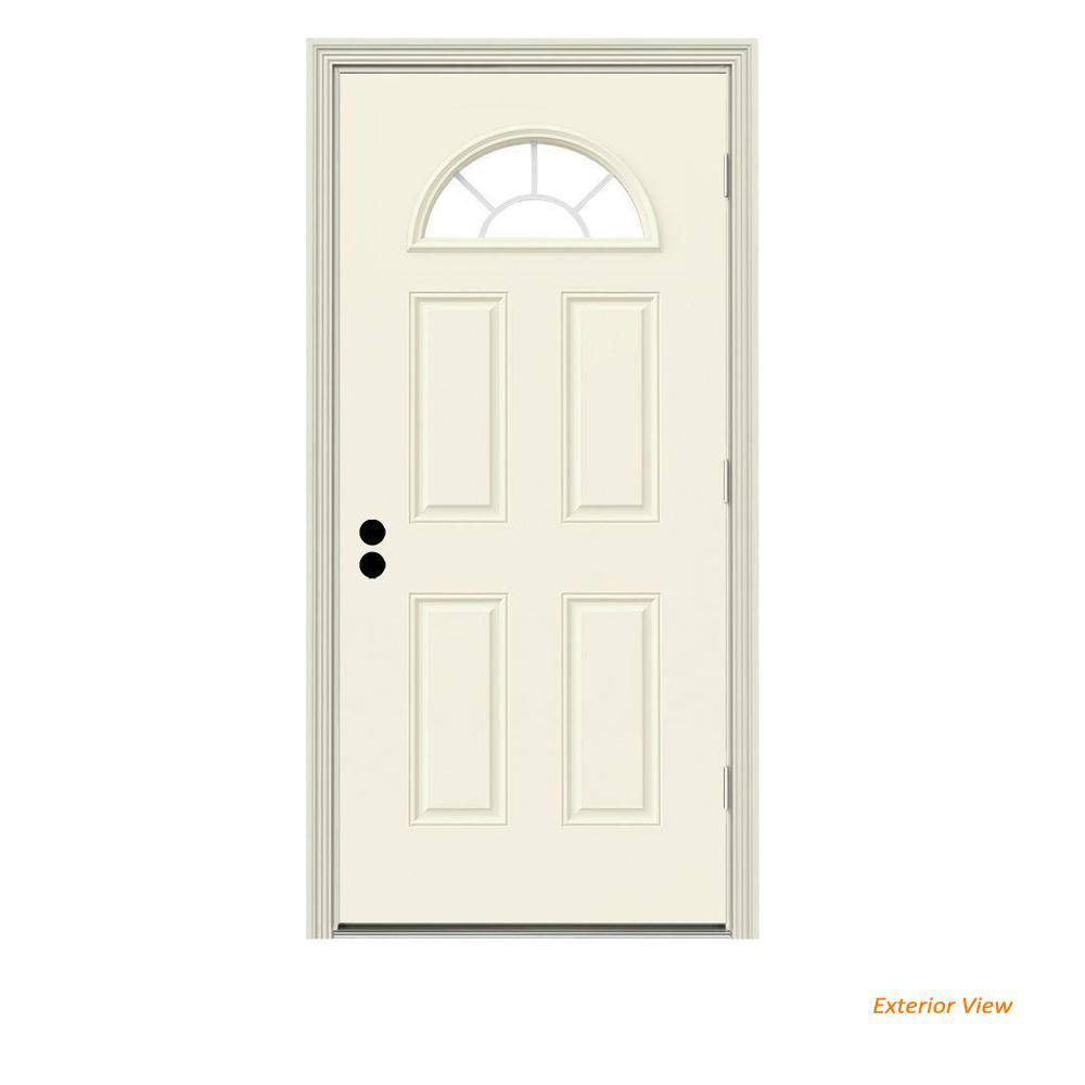 36 in. x 80 in. Fan Lite Vanilla Painted Steel Prehung Left-Hand Outswing Front Door w/Brickmould