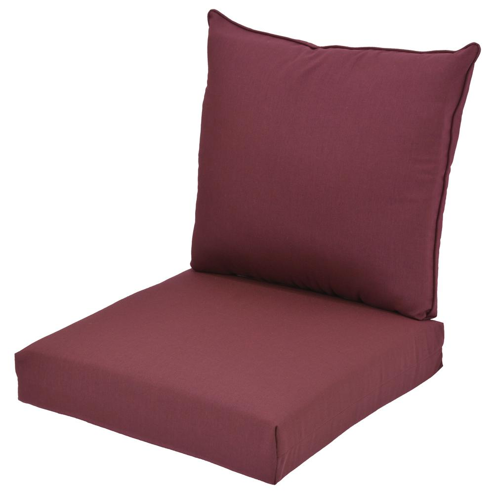 Aubergine 2-Piece Deep Seating Outdoor Lounge Chair Cushion