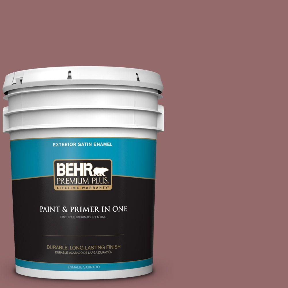 BEHR Premium Plus 5-gal. #140F-5 Clay Ridge Satin Enamel Exterior Paint