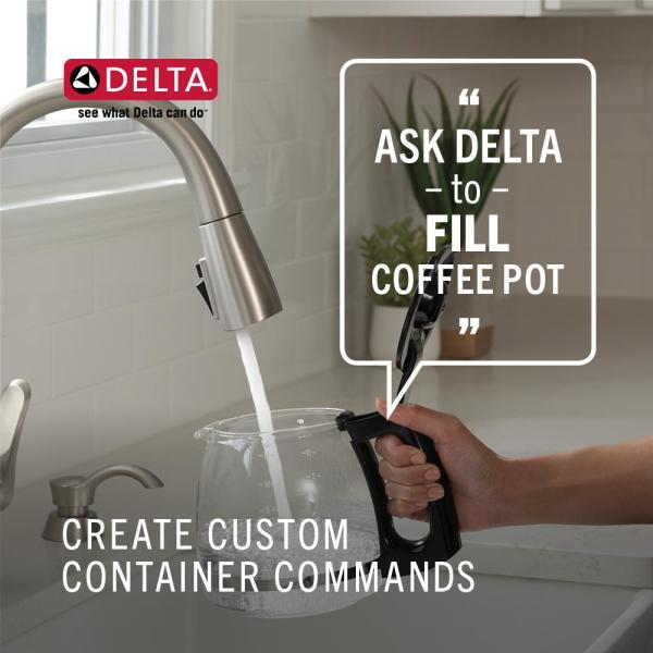 Delta Trinsic Touch2o Single Handle Pull Down Sprayer Kitchen Faucet Google Assistant Alexa Compatible In Arctic Stainless 9159tv Ar Dst The Home Depot