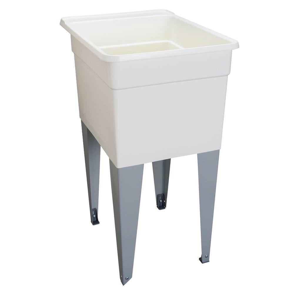 MUSTEE 18 in. x 24 in. Plastic Utilatub Single Laundry Tub in White ...