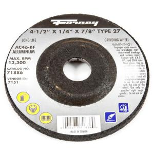 Forney 4-1/2 inch x 1/4 inch x 7/8 inch Aluminum Type 27 AC46-BF Grinding Wheel by Forney
