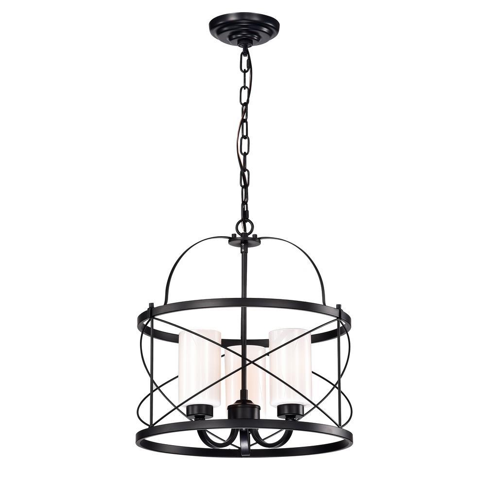 Warehouse of Tiffany Tamsen 3-Light Matte Black Pendant