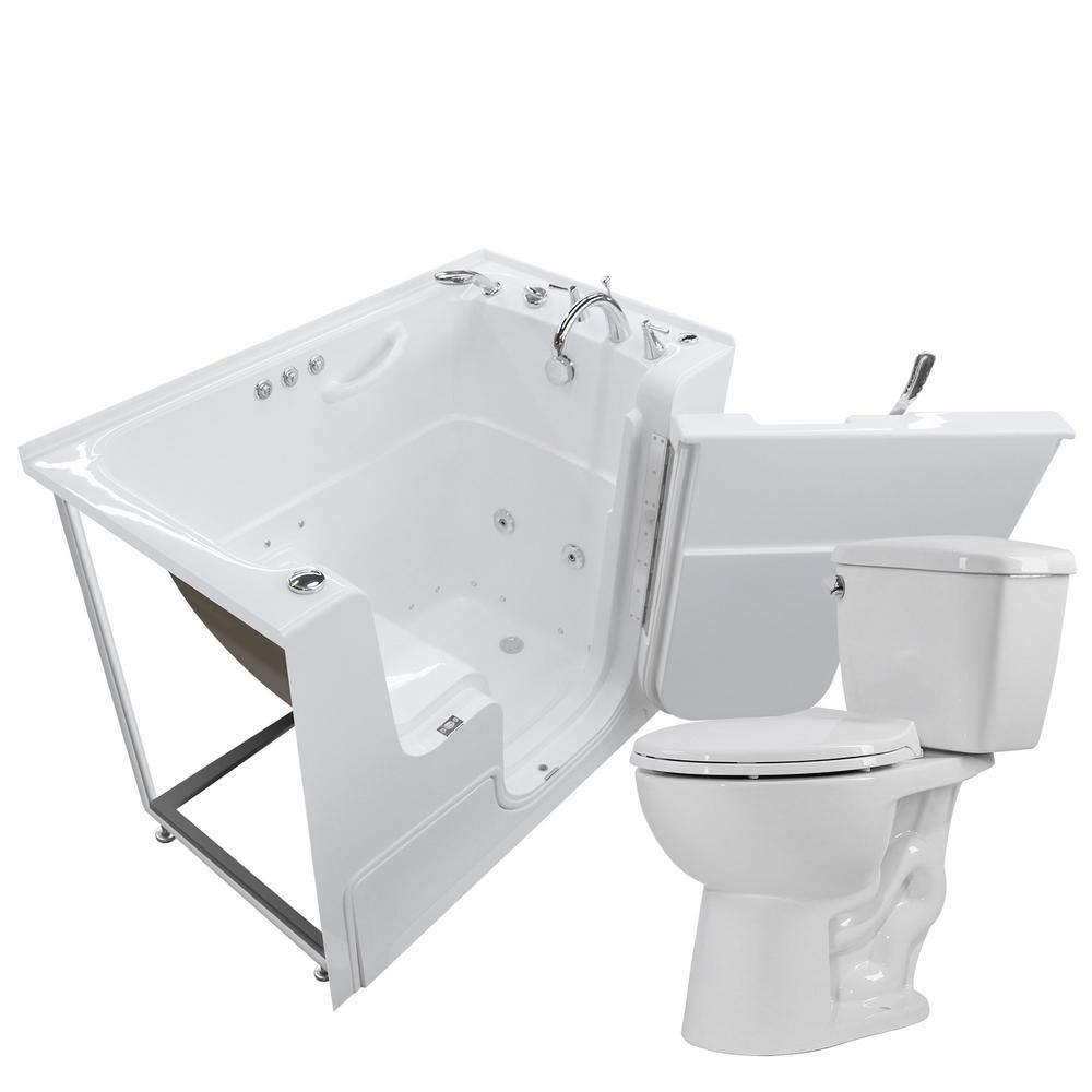 Universal Tubs Wheelchair Accessible 53 in. Walk-In Whirlpool and Air Bath Tub in White with 1.28 GPF Single Flush Toilet