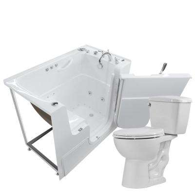 Wheelchair Accessible 53 in. Walk-In Whirlpool and Air Bath Tub in White with 1.28 GPF Single Flush Toilet