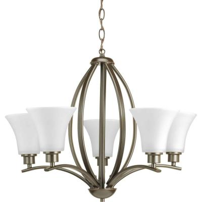 Joy Collection 5-Light Antique Bronze Chandelier with Etched White Glass
