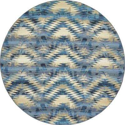 Outdoor Aztec Blue 8' 0 x 8' 0 Round Rug