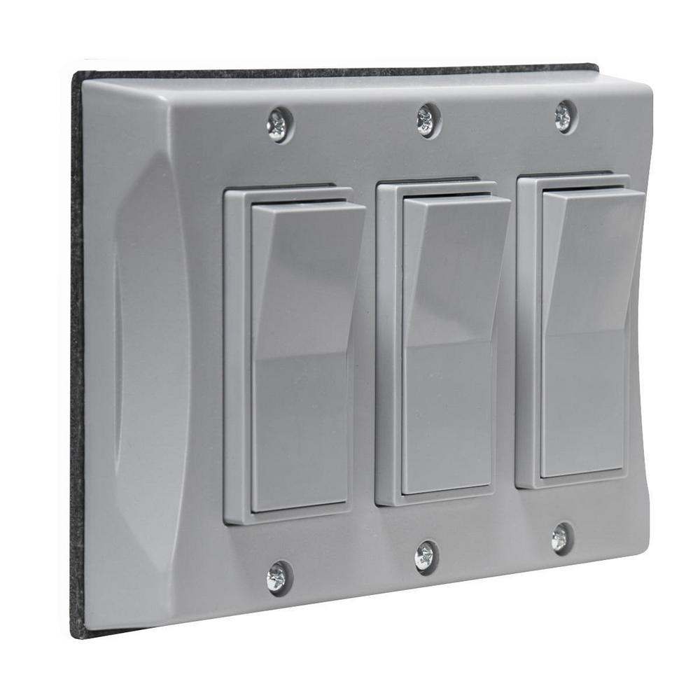Bell 3 Gang Weatherproof Decorator Cover Gray 5129 0 The Home Depot