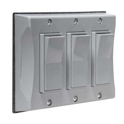 3-Gang Weatherproof Decorator Cover, Gray