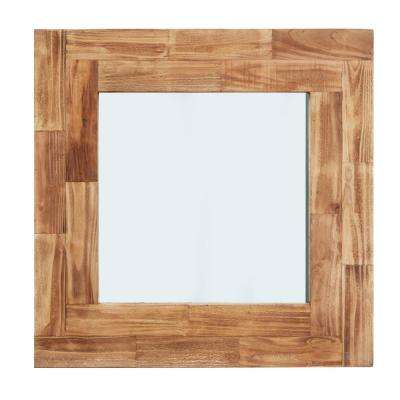 Magnolia Ranch 31 in. Distressed Slat Wood Framed Square Wall Mirror