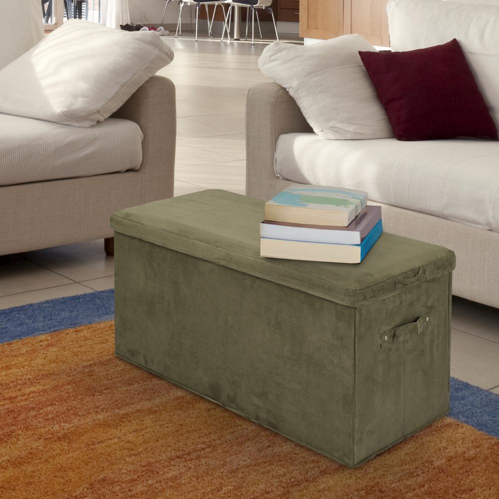 Sage Microsuede Folding Storage Bench