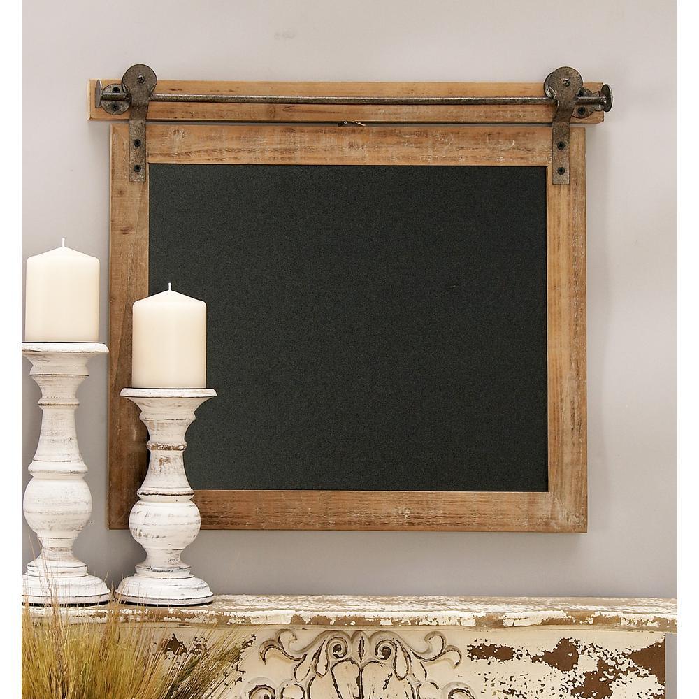 Bracketed Rectangular Wooden Chalk Memo Board