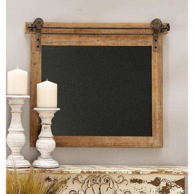 Bracketed Rectangular Wooden Chalk Memo Board