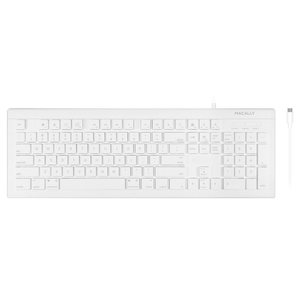 Macally 104-Key USB-C Keyboard for MacBook, Smartphone