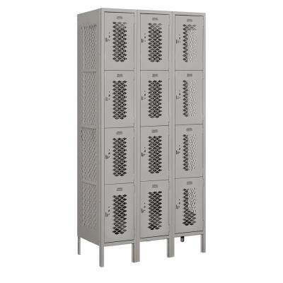 74000 Series 12 Compartments Four Tier 36 In. W x 78 In. H x 18 In. D Vented Metal Locker Unassembled in Gray