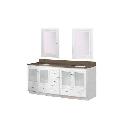 Shaker 72 in. Vanity in White with Quartz Vanity Top in Grand Green with White Basin and Mirror