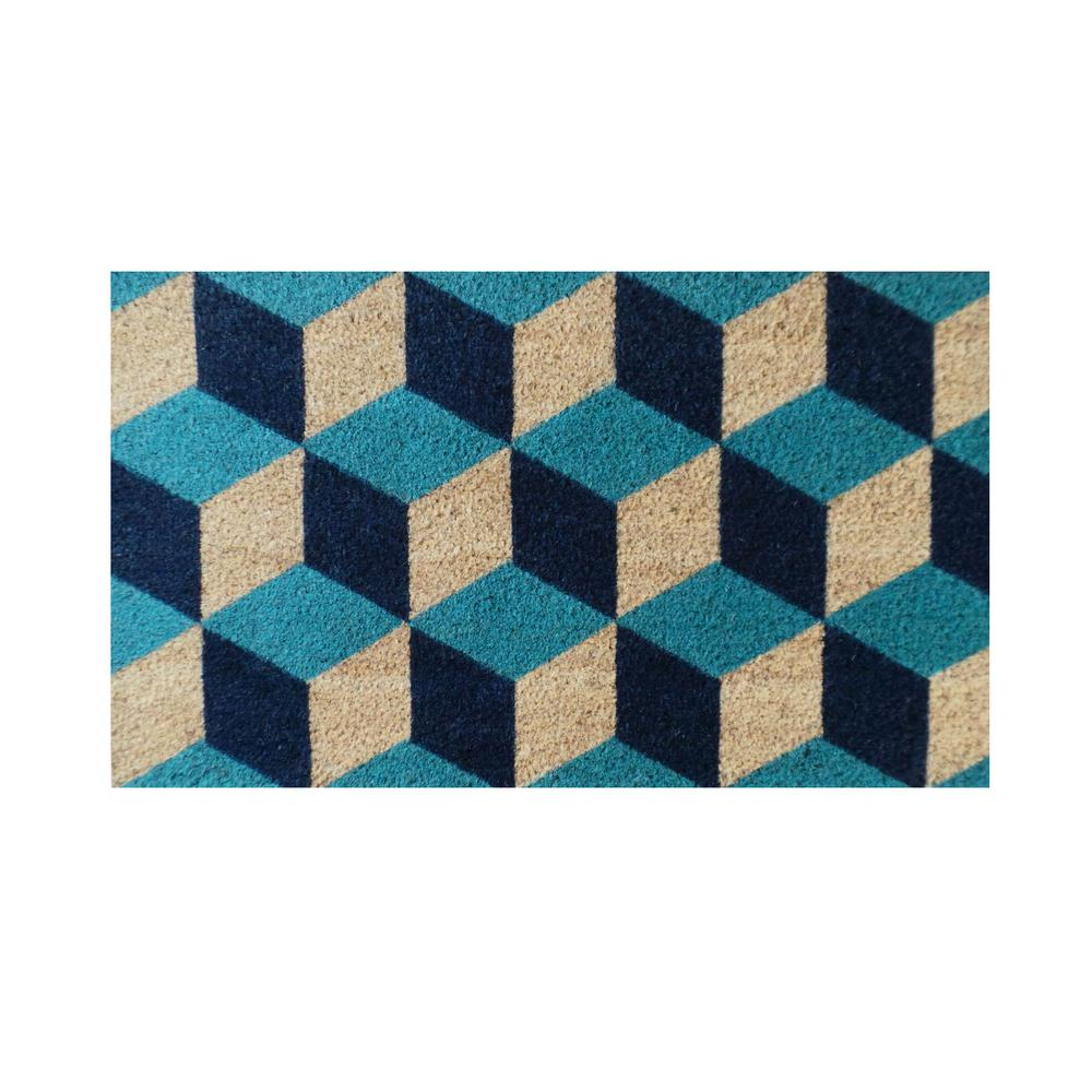 Delicieux A1HC First Impression Geometric Blocks Pattern 18 In. X 30 In. Decorative  Door Mat