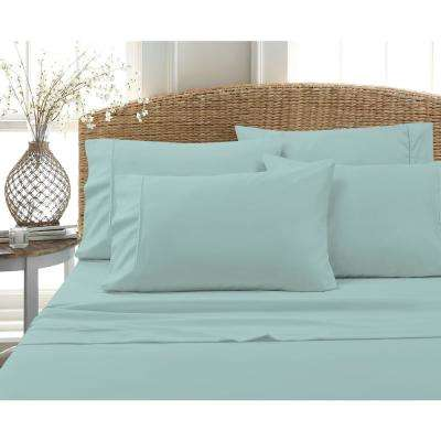 6 Piece Dusty Aqua Solid Cotton Rich King Sheet Set