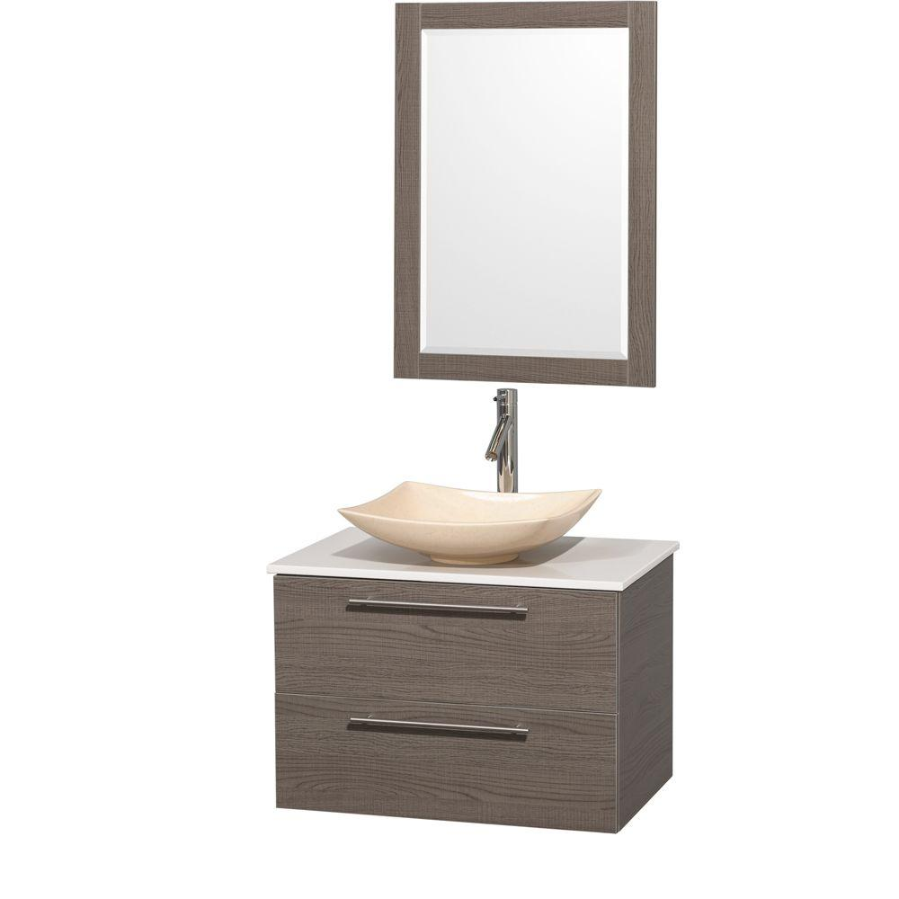 Wyndham Collection Amare 30 In Vanity In Gray Oak With Solid