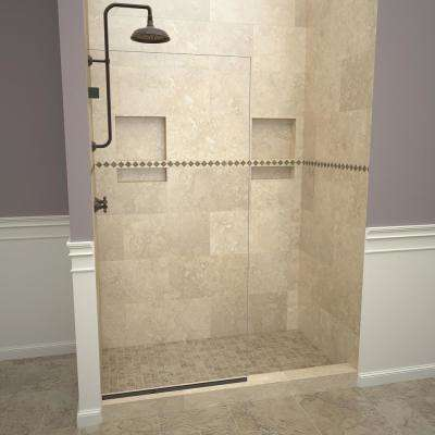 2300V Series 30 in. W x 76 in. H Semi-Frameless Fixed Shower Door in Oil Rubbed Bronze without handle