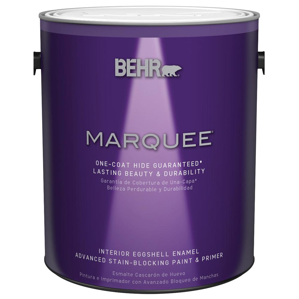 Behr Marquee 1 Gal Ultra Pure White Eggshell Enamel One Coat Hide Interior Paint And Primer In
