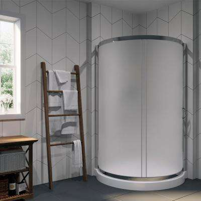 Breeze 38 in. x 38 in. x 76 in. Shower Kit with Intimacy Glass, Shower Base in White