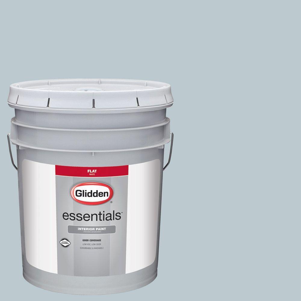 Glidden Essentials 5 Gal Hdgcn32 Mild Wind Blue Flat Interior Paint Hdgcn32e 05fn The Home Depot
