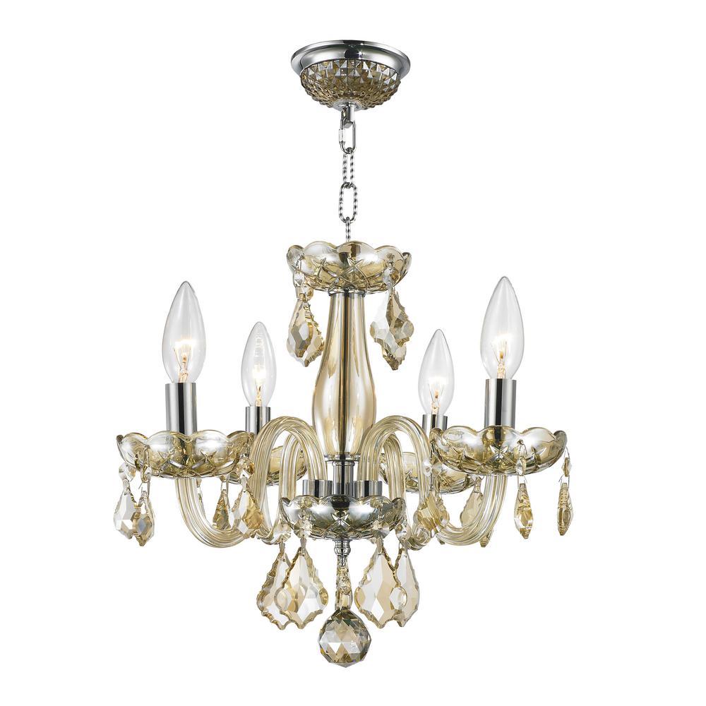 Worldwide Lighting Clarion Collection 4-Light Polished Chrome Golden Teak Crystal Chandelier