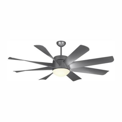 Turbine 56 in. Integrated LED Indoor Painted Brushed Steel Ceiling Fan with DC Motor and Remote Control