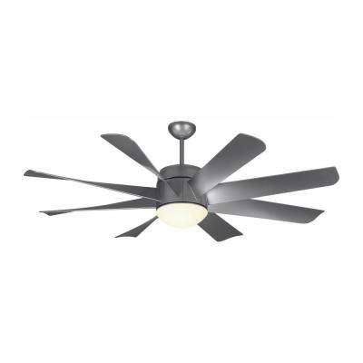 Turbine LED 56 in. LED Indoor Painted Brushed Steel Ceiling Fan