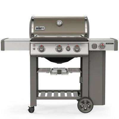 Genesis II E-330 3-Burner Propane Gas Grill in Smoke with Built-In Thermometer and Side Burner