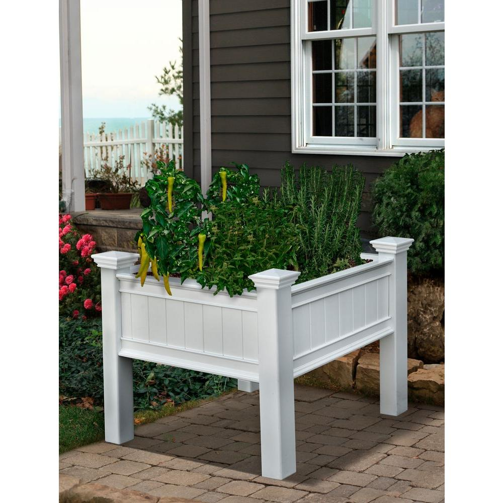 Square White Vinyl Raised Garden Planter