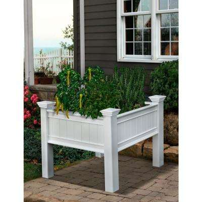 Mayfair 36 in. Square White Vinyl Raised Garden Planter