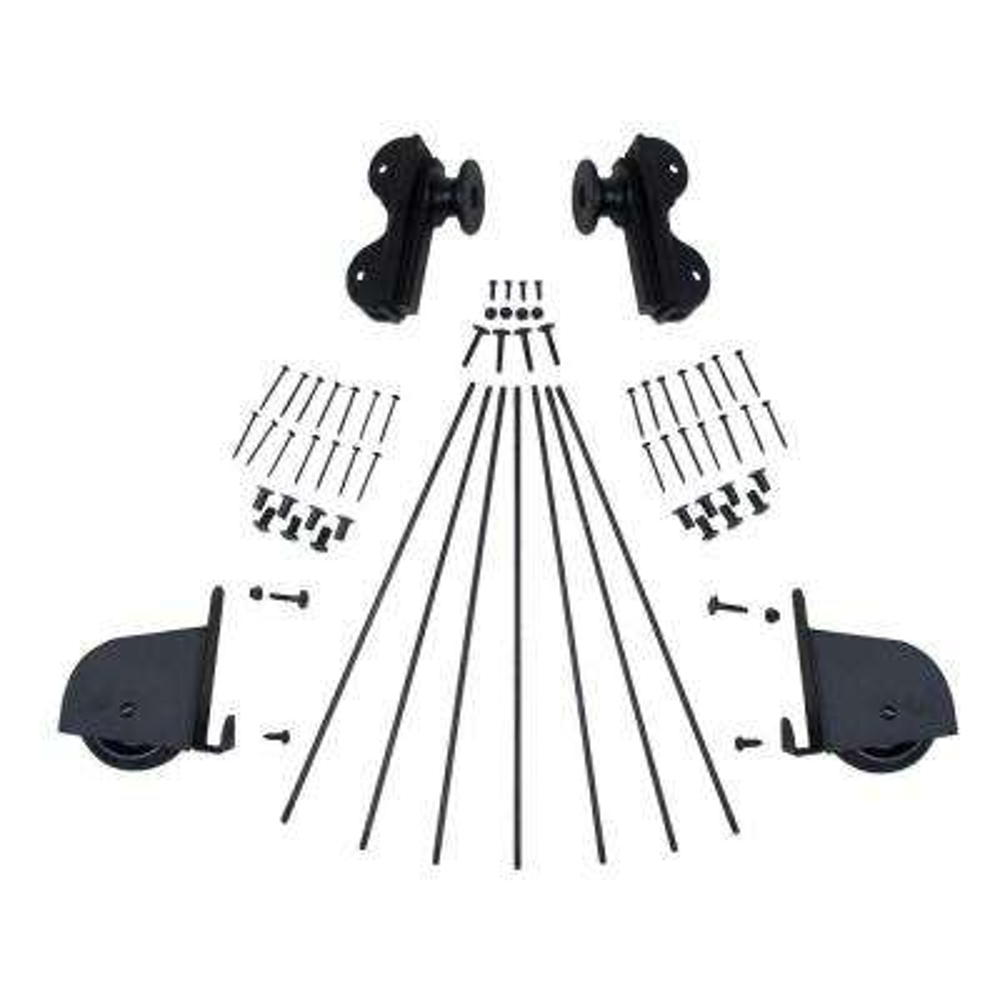 Black Contemporary Rolling Hook Hardware Kit