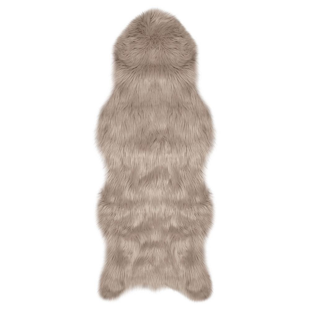 Jean Pierre Faux-Fur Taupe Grey 5 ft. x 2 ft. Area Rug ...