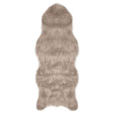 Faux-Fur Taupe Grey 5 ft. x 2 ft. Area Rug