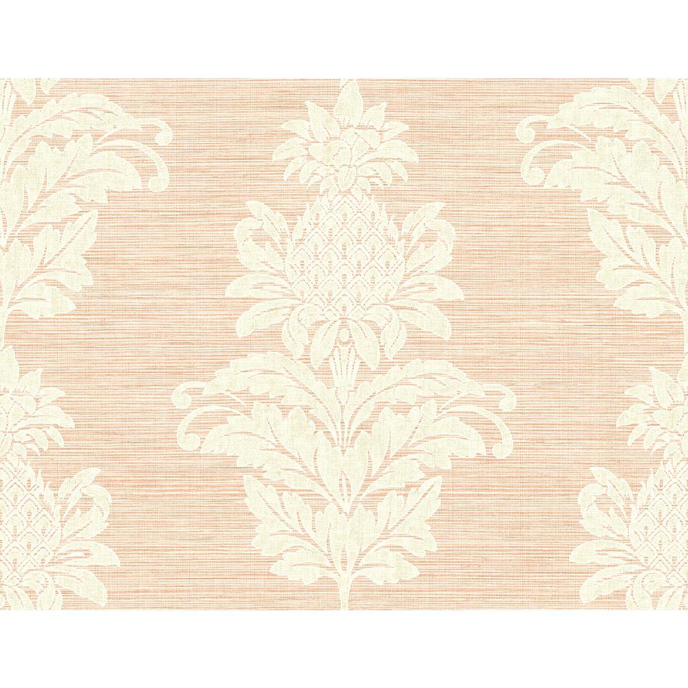 Pineapple Grove Pink Damask Wallpaper Sample