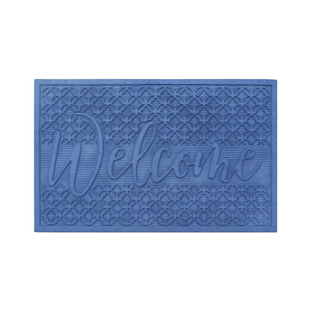 Welcome Eco Poly 24 in. x 36 in. Blue Entrance Mat