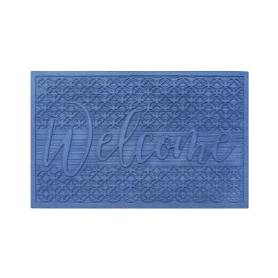 Welcome Eco Poly 24 in. x 36 in. Blue Entrance Mat with Anti Slip Fabric