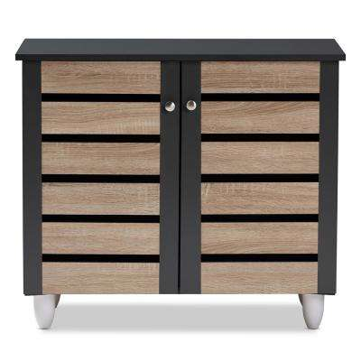Gisela 26 in. H x 30 in. W 9-Pair Oak and Dark Gray Wooden Shoe Storage Cabinet