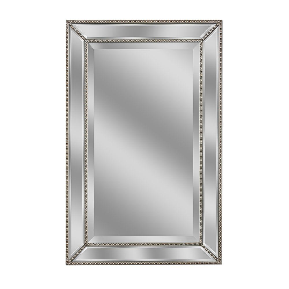 home depot vanity mirror Deco Mirror 32 in. L x 20 in. W Metro Beaded Mirror in Silver 1204  home depot vanity mirror