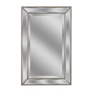20 in. W x 32 in. H Framed Rectangular Beveled Edge Bathroom Vanity Mirror in Champagne silver