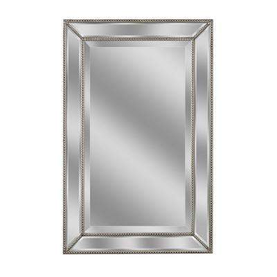 32 in. L x 20 in. W Metro Beaded Mirror in Silver