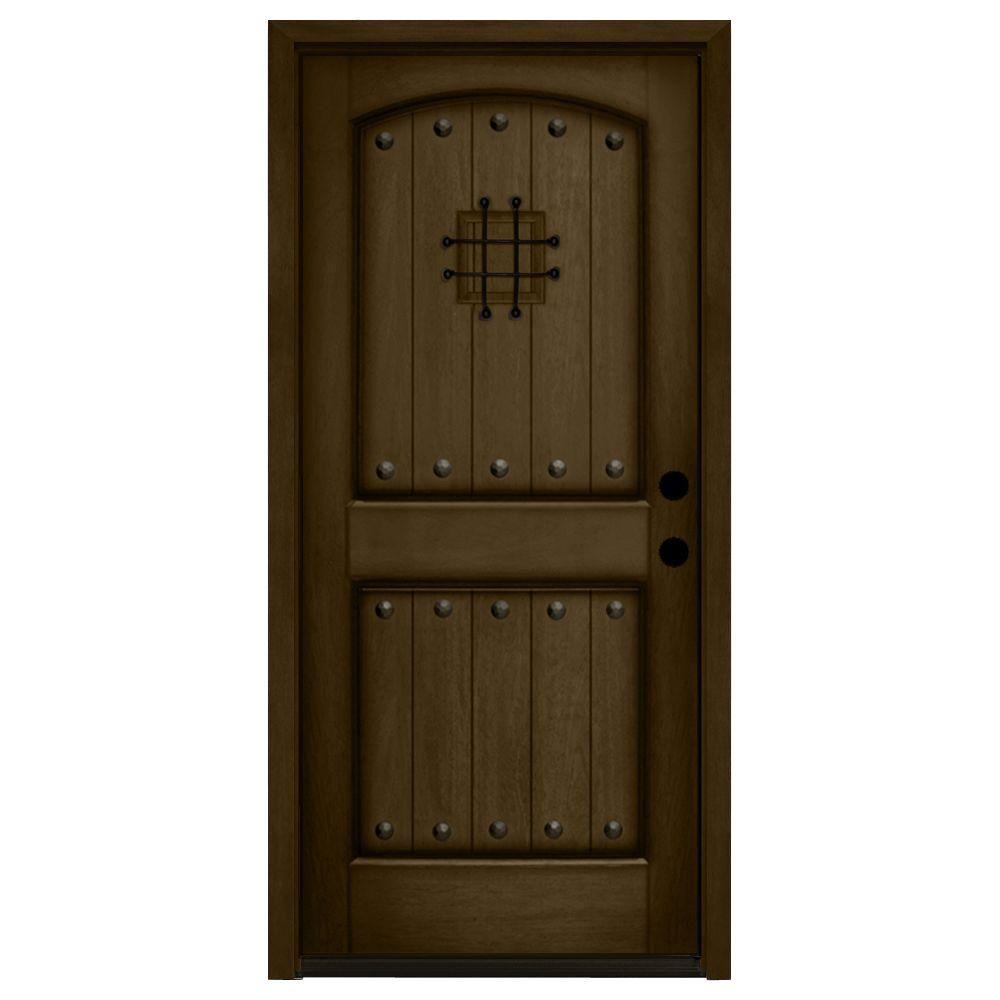 Rustic 2 Panel Speakeasy Stained Mahogany Wood Prehung Front Door