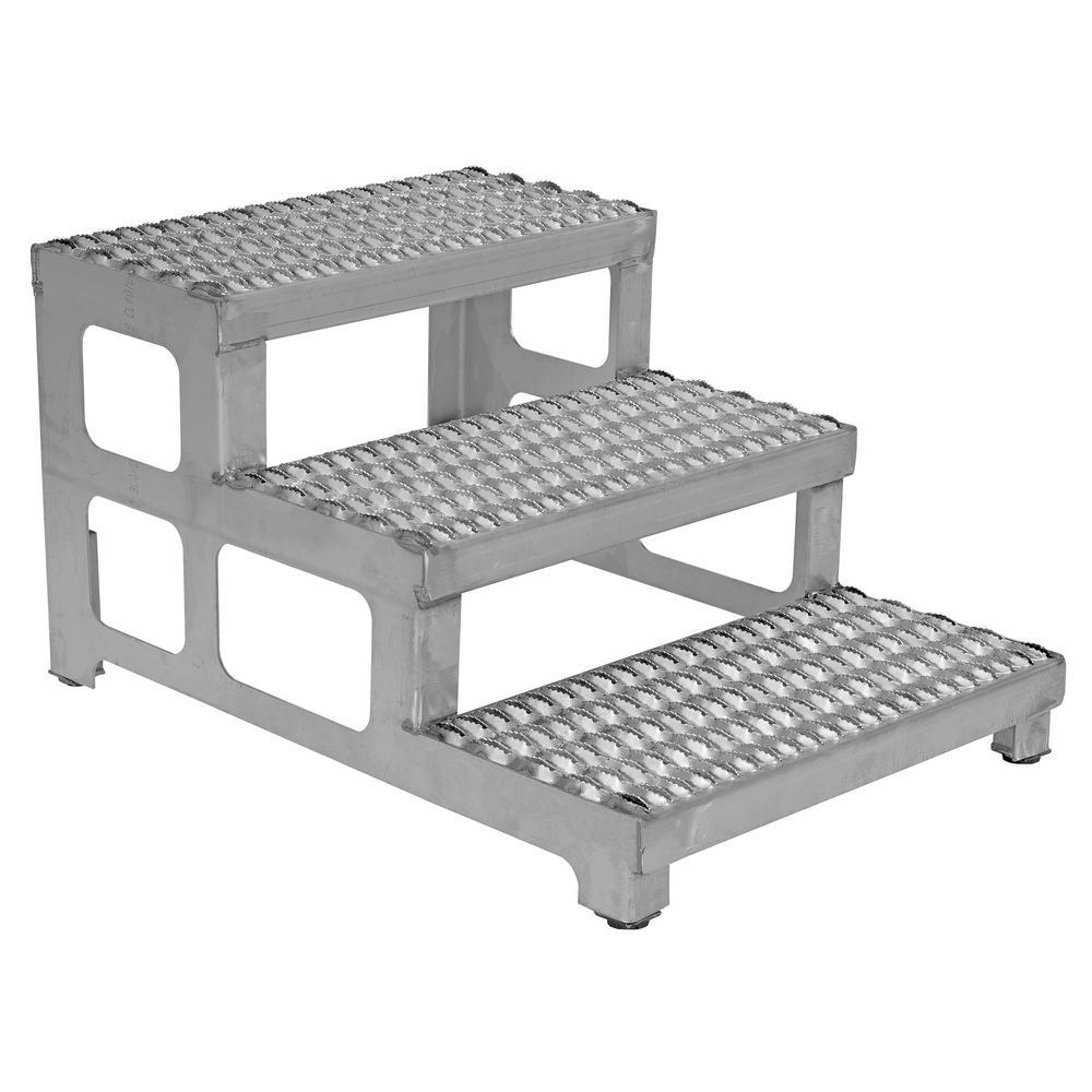 Vestil 24 inch x 34 inch 3-Step Stainless Steel Adjustable Step Stand by Vestil
