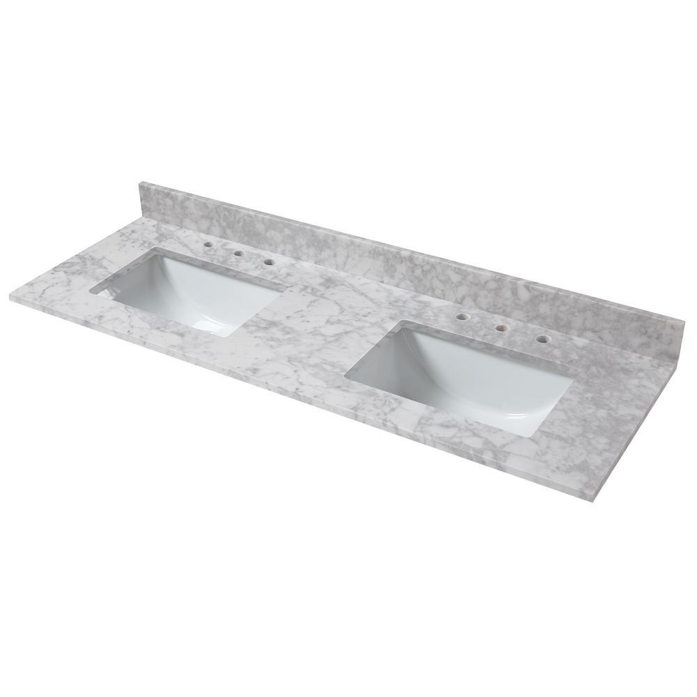 61 in. W x 22 in. D Marble Double Trough Sink Vanity Top in Carrara