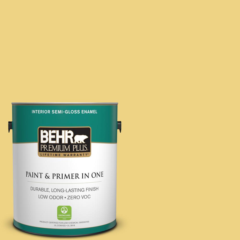 BEHR Premium Plus 1-gal. #380D-4 Feather Gold Zero VOC Semi-Gloss Enamel Interior Paint