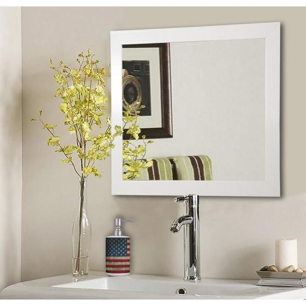 16 in. W x 16 in. H Framed Square Bathroom Vanity Mirror in White