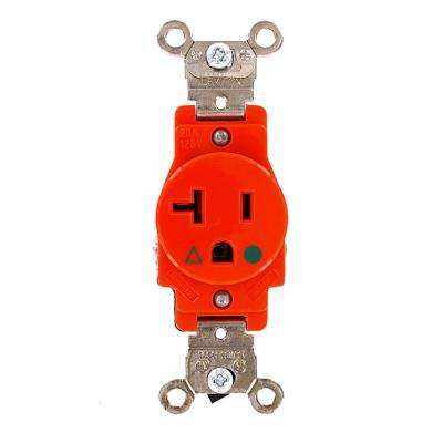20 Amp Industrial Grade Heavy Duty Isolated Ground Single Outlet, Orange