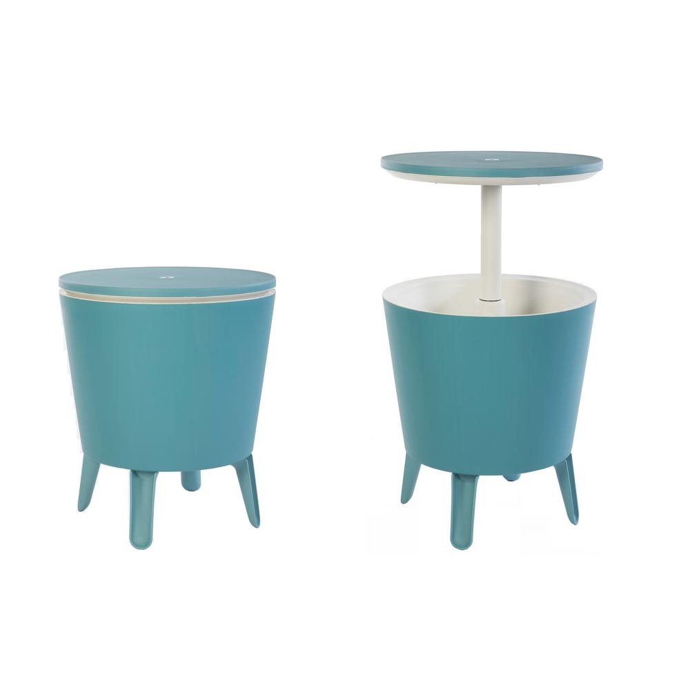 Keter Cool Bar Teal Resin Outdoor Accent Table And Cooler